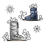 Winter shoes, sketch for your design Stock Image