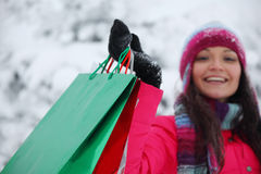 Winter shopping Royalty Free Stock Photos