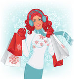 Winter shopping. Beautiful redhead woman with christmas shopping bags on the vector background with snowflakes vector illustration