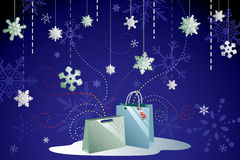 Winter shopping background Stock Photo