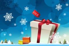 Winter Shopping Background Stock Photos