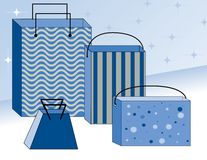 Winter Shopping Bags Stock Images