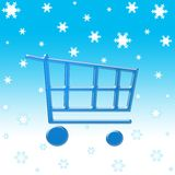 Winter shopping cart. Shopping cart on winter snow flakes Stock Images