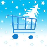 Winter shopping cart. With christmas tree and snow flakes Royalty Free Stock Images