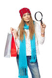 Winter shopping concept Stock Images