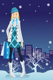 Winter shopping girl Royalty Free Stock Photo
