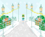 Winter shopping girl Royalty Free Stock Photography