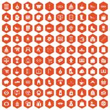 100 winter shopping icons hexagon orange. 100 winter shopping icons set in orange hexagon isolated vector illustration Royalty Free Stock Photos