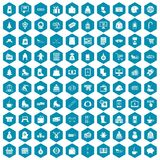 100 winter shopping icons sapphirine violet. 100 winter shopping icons set in sapphirine hexagon isolated vector illustration Stock Illustration