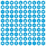 100 winter shopping icons set blue. 100 winter shopping icons set in blue hexagon isolated vector illustration Royalty Free Stock Photo