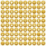 100 winter shopping icons set gold. 100 winter shopping icons set in gold circle isolated on white vectr illustration Stock Photo