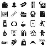 Winter shopping icons set, simple style. Winter shopping icons set. Simple set of 25 winter shopping vector icons for web isolated on white background Royalty Free Stock Photos
