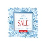Winter shopping sale banner with lettering. Snow frame backgroun stock illustration