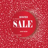 Winter shopping sale banner with lettering. Snow frame background. Holiday sale with snowflakes over red festive background royalty free illustration