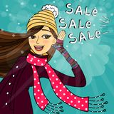 Winter shopping sale. Discounts vector illustration Stock Image