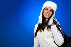 Winter shopping woman Royalty Free Stock Image