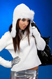 Winter shopping woman Royalty Free Stock Photo