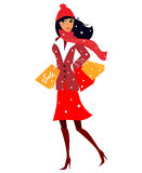 Winter shopping woman in red costume Royalty Free Stock Photos
