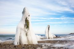 Winter on shore of the Baltic Sea Stock Photos