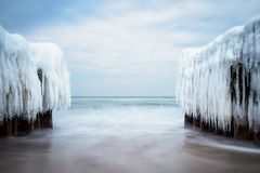 Winter on shore of the Baltic Sea in Kuehlungsborn, Germany Royalty Free Stock Photos