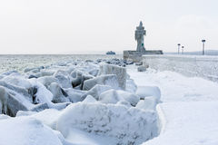 Winter on shore of the Baltic Sea in Sassnitz Royalty Free Stock Image