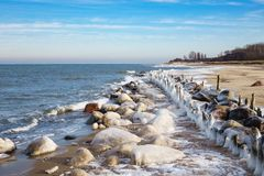 Winter on shore of the Baltic Sea Stock Photography