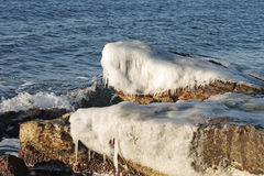 Winter shore of the Caspian Sea. Royalty Free Stock Photos