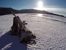 Winter shoreline at an Idaho mountain lake stock video footage