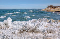 Winter Shoreline Lake Michigan Stock Photo