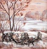 Winter Siberian landscape Stock Photos