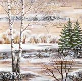 Winter Siberian landscape. Picture, winter natural landscape. Handmade, drawing distemper on a birch bark Stock Photo