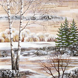 Winter-Sibirierlandschaft Stockfoto