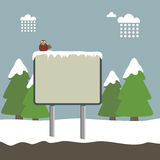Winter sign. Winter landscape background with signpost and robin Stock Photos