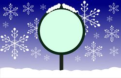 Winter signal with snowflakes in blue Royalty Free Stock Photography