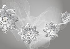 Winter silver background with snowflakes Stock Photography