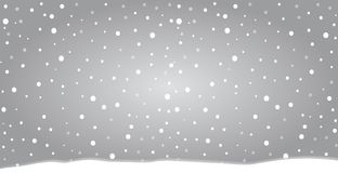 Winter silver banner. Fallen snowflakes. Christmas or new year template in cartoon style with space for text. Vector illustration Royalty Free Stock Image