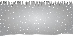 Winter silver banner with icicles. Fallen snowflakes. Winter silver banner. Fallen snowflakes. Christmas or new year template in cartoon style with icicles and Stock Photo