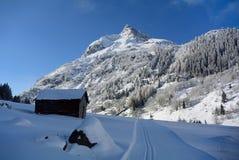 Winter in Silvrettagebirge, Tirol, Austria. Cross-country ski trail under Ballunspitze in Silvretta alps in Tirol - Austria Stock Image