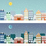 Winter sityscape at night and at day Stock Photography