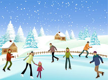 Winter skaters Stock Images