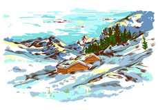 Winter Sketch Farm Landscape Stock Image