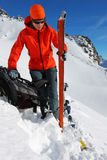 Winter ski ascent Stock Photo
