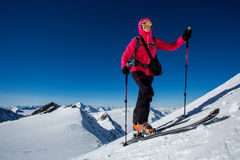 Winter ski ascent Stock Images