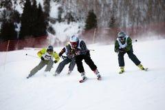 Winter ski and bordercross competition Stock Photos