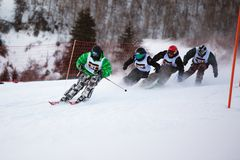 Winter ski and bordercross competition Royalty Free Stock Photography