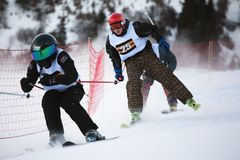 Winter ski and bordercross competition Royalty Free Stock Images