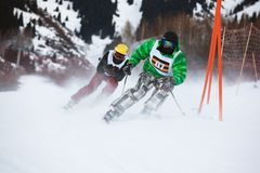 Winter ski and bordercross competition Stock Image