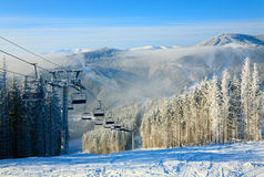 Winter ski lift Royalty Free Stock Image