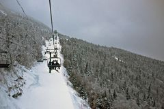Winter ski lift landscape Royalty Free Stock Photography