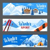 Winter ski resort banners. Beautiful landscape with alpine chalet houses, snowboard, snowy mountains and fir forest.  Royalty Free Stock Photography
